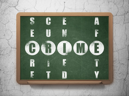 crime solving: Safety concept: Painted White word Crime in solving Crossword Puzzle on School Board background, 3d render