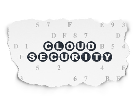 hexadecimal: Safety concept: Painted black text Cloud Security on Torn Paper background with  Hexadecimal Code, 3d render Stock Photo