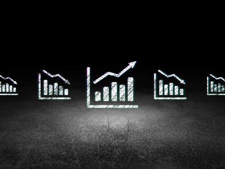 dirty bussines: Finance concept: row of Glowing decline graph icons around growth graph icon in grunge dark room Dirty Floor, dark background, 3d render