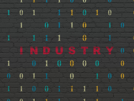 Finance concept: Painted red text Industry on Black Brick wall background with Binary Code, 3d render photo