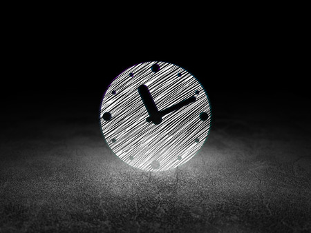 dirty room: Timeline concept: Glowing Clock icon in grunge dark room with Dirty Floor, black background, 3d render