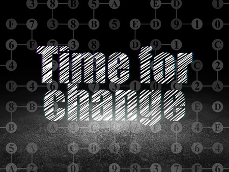 dirty room: Time concept: Glowing text Time for Change in grunge dark room with Dirty Floor, black background with Scheme Of Hexadecimal Code, 3d render Stock Photo