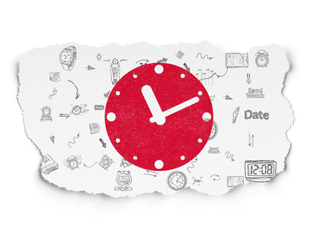 Timeline concept: Painted red Clock icon on Torn Paper background with Scheme Of Hand Drawing Time Icons, 3d render photo