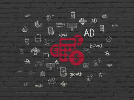 Marketing concept: Painted red Calculator icon on Black Brick wall background with  Hand Drawn Marketing Icons, 3d render photo
