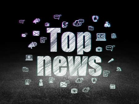 news room: News concept: Glowing text Top News,  Hand Drawn News Icons in grunge dark room with Dirty Floor, black background, 3d render Stock Photo