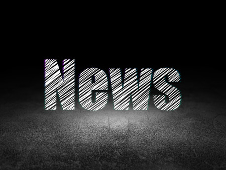 dirty room: News concept: Glowing text News in grunge dark room with Dirty Floor, black background, 3d render