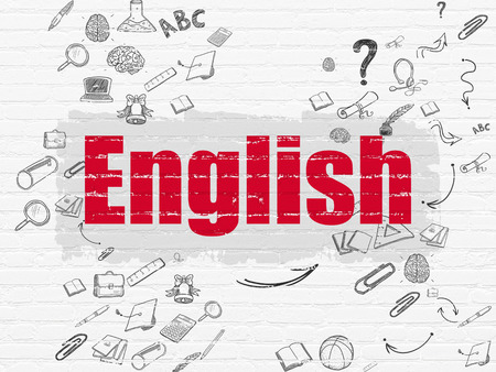 Education concept: Painted red text English on White Brick wall background with Scheme Of Hand Drawn Education Icons, 3d render photo