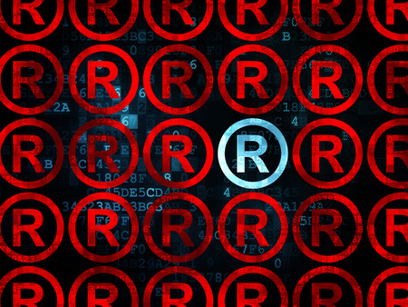 r regulation: Law concept: rows of Pixelated red registered icons around blue registered icon on Digital background, 3d render