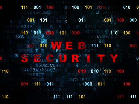 privat: Security concept: Pixelated red text Web Security on Digital wall background with Binary Code, 3d render Stock Photo