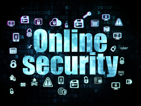 online privacy: Privacy concept: Pixelated blue text Online Security on Digital background with  Hand Drawn Security Icons, 3d render