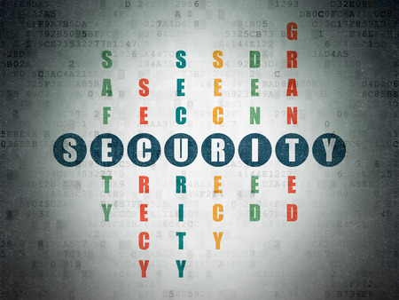 Safety concept: Painted blue word Security in solving Crossword Puzzle on Digital Paper background, 3d render photo