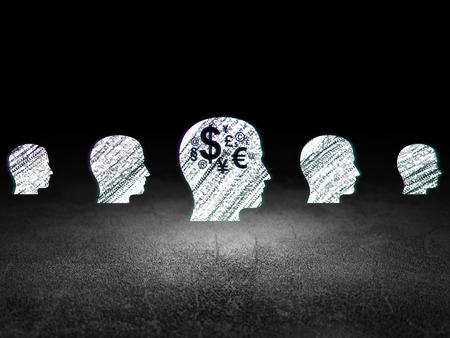 dirty bussines: Finance concept: row of Glowing head icons around head with finance symbol icon in grunge dark room Dirty Floor, dark background, 3d render Stock Photo