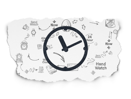 Timeline concept: Painted black Clock icon on Torn Paper background with Scheme Of Hand Drawing Time Icons, 3d render photo
