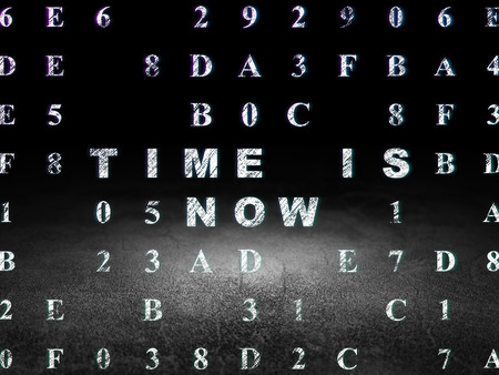 dirty room: Time concept: Glowing text Time is Now in grunge dark room with Dirty Floor, black background with Hexadecimal Code, 3d render Stock Photo