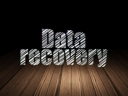 data recovery: Information concept: Glowing text Data Recovery in grunge dark room with Wooden Floor, black background, 3d render