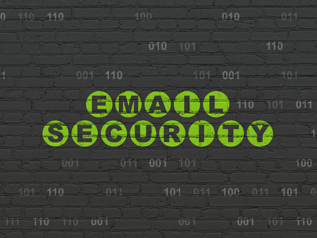 email security: Protection concept: Painted green text Email Security on Black Brick wall background with Binary Code, 3d render