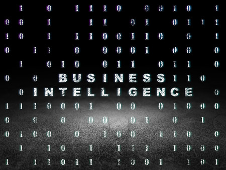 Business concept: Glowing text Business Intelligence in grunge dark room with Dirty Floor, black background with Binary Code, 3d render