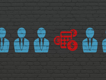 buisnes: Business concept: row of Painted blue business man icons around red calculator icon on Black Brick wall background, 3d render