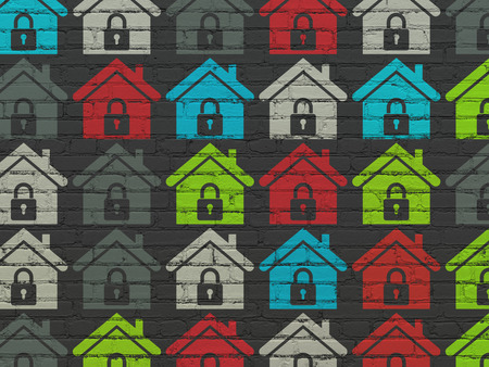 buisnes: Finance concept: Painted multicolor Home icons on Black Brick wall background, 3d render
