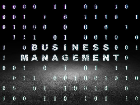 dirty bussines: Business concept: Glowing text Business Management in grunge dark room with Dirty Floor, black background with Binary Code, 3d render
