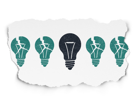 tearing down: Business concept: row of Painted blue light bulb icons around black light bulb icon on Torn Paper background, 3d render Stock Photo