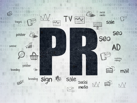 pr: Marketing concept: Painted black text PR on Digital Paper background with  Hand Drawn Marketing Icons, 3d render