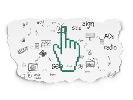 Advertising concept: Painted green Mouse Cursor icon on Torn Paper background with Scheme Of Hand Drawn Marketing Icons, 3d render photo