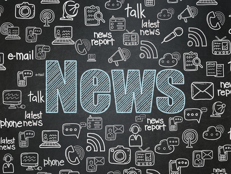 news background: News concept: Chalk Blue text News on School Board background with  Hand Drawn News Icons, 3d render