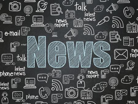 Nouvelles notion: Chalk texte Bleu Nouvelles sur School Board fond avec tirées par la main Nouvelles icônes, 3d render