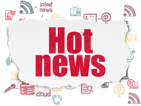 hot news: News concept: Painted red text Hot News on Torn Paper background with Scheme Of Hand Drawn News Icons, 3d render Stock Photo