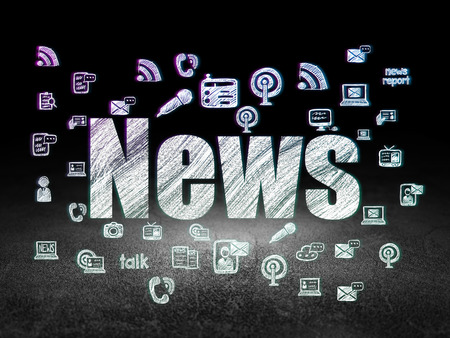 News concept: Glowing text News,  Hand Drawn News Icons in grunge dark room with Dirty Floor, black background, 3d render