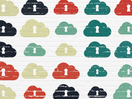 Cloud networking concept: Painted multicolor Cloud With Keyhole icons on White Brick wall background, 3d render photo