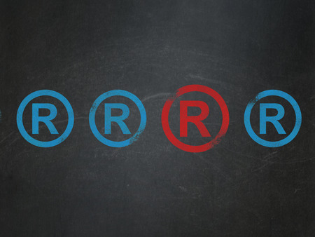 r regulation: Law concept: row of Painted blue registered icons around red registered icon on School Board background, 3d render