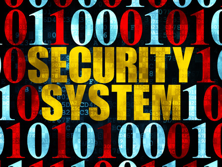passkey: Security concept: Pixelated yellow text Security System on Digital wall background with Binary Code, 3d render Stock Photo