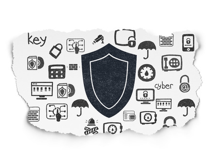 Safety concept: Painted black Shield icon on Torn Paper background with  Hand Drawn Security Icons, 3d render photo