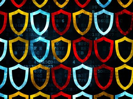 contoured: Concepto de Privacidad: multicolor Pixelated iconos contorneada escudo sobre fondo digital, 3d