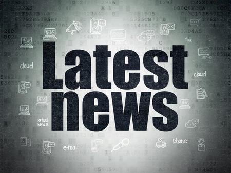 ニュース概念: 塗装手描画ニュース アイコン、3 d のレンダリングとデジタル ペーパーの背景に黒のテキスト最新ニュース 写真素材