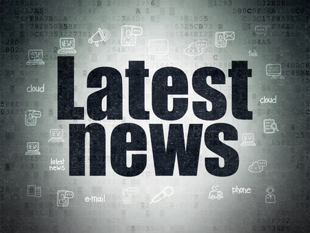 News concept: Painted black text Latest News on Digital Paper background with  Hand Drawn News Icons, 3d render Foto de archivo