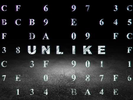 unlike: Social network concept: Glowing text Unlike in grunge dark room with Dirty Floor, black background with Hexadecimal Code, 3d render