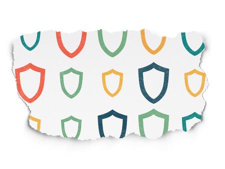 contoured: Concepto de seguridad: Pintadas multicolores iconos contorneada escudo sobre fondo de papel rasgado, 3d Foto de archivo