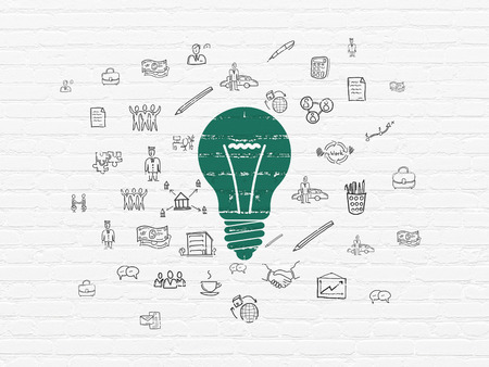 Finance concept: Painted green Light Bulb icon on White Brick wall background with  Hand Drawn Business Icons, 3d render photo