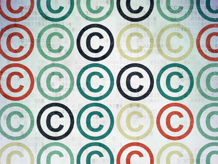 copyright symbol: Law concept: Painted multicolor Copyright icons on Digital Paper background, 3d render Stock Photo