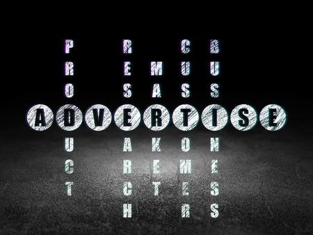dirty room: Advertising concept: Glowing word Advertise in solving Crossword Puzzle in grunge dark room with Dirty Floor, black background, 3d render
