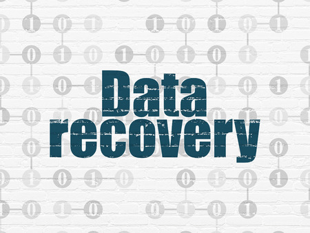 data recovery: Information concept: Painted blue text Data Recovery on White Brick wall background with Scheme Of Binary Code, 3d render