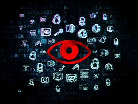 red eye: Safety concept: Pixelated red Eye icon on Digital background with  Hand Drawn Security Icons, 3d render