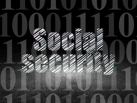 dirty room: Safety concept: Glowing text Social Security in grunge dark room with Dirty Floor, black background with  Binary Code, 3d render Stock Photo