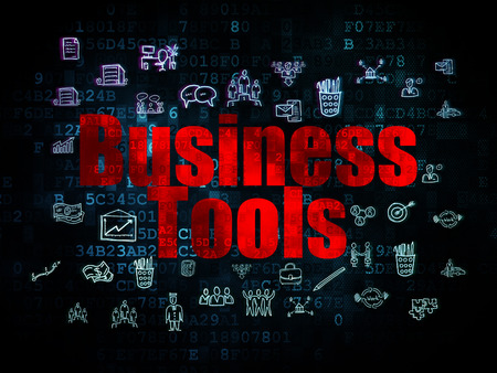 Finance concept: Pixelated red text Business Tools on Digital background with Hand Drawn Business Icons, 3d render