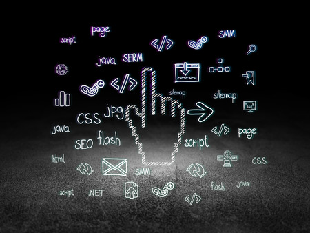 e systems: Web design concept: Glowing Mouse Cursor icon in grunge dark room with Dirty Floor, black background with Hand Drawn Site Development Icons Stock Photo