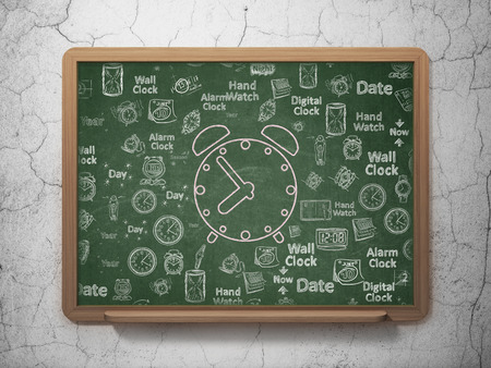Time concept: Chalk Pink Alarm Clock icon on School Board background with Hand Drawing Time Icons photo