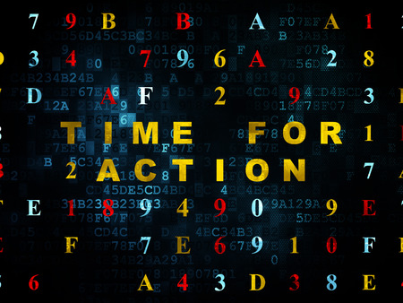 Time concept: Pixelated yellow text Time for Action on Digital wall background with Hexadecimal Code photo